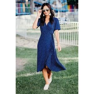 Navy Dotted Wrap Dress